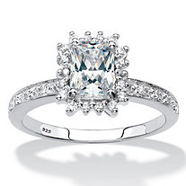 Emerald-Cut Created White Sapphire and Diamond Accent Halo Engagement Ring 1.60 TCW in Platinum over Sterling Silver
