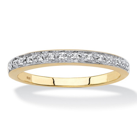 Diamond Accent Single Row Ring Band in 18k Gold over Sterling Silver at PalmBeach Jewelry
