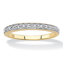SETA JEWELRY Diamond Accent Single Row Ring Band in 18k Gold over Sterling Silver