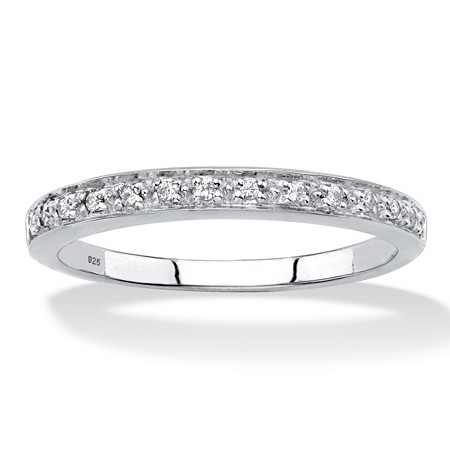 Diamond Accent Single Row Ring Band in Platinum over Sterling Silver at PalmBeach Jewelry