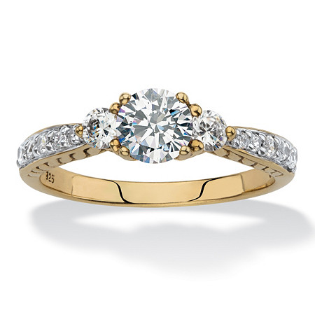 Round Created White Sapphire 3-Stone Promise Ring 1.31 TCW in 18k Gold over Sterling Silver at PalmBeach Jewelry