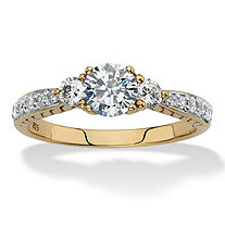 Round Created White Sapphire 3-Stone Promise Ring 1.31 TCW in 18k Gold over Sterling Silver