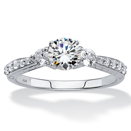Round Created White Sapphire 3-Stone Promise Ring 2.56 TCW in Platinum over Sterling Silver at PalmBeach Jewelry