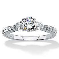Round Created White Sapphire 3-Stone Promise Ring 2.56 TCW in Platinum over Sterling Silver