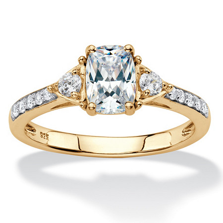 Cushion-Cut Created White Sapphire 3-Stone Promise Ring 1.27 TCW in 18k Gold over Sterling Silver at PalmBeach Jewelry