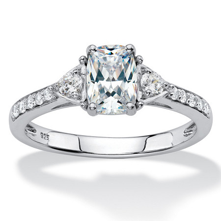 Cushion-Cut Created White Sapphire 3-Stone Promise Ring 1.27 TCW in Platinum over Sterling Silver at PalmBeach Jewelry