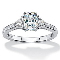 Cushion-Cut Created White Sapphire 3-Stone Promise Ring 1.27 TCW in Platinum over Sterling Silver
