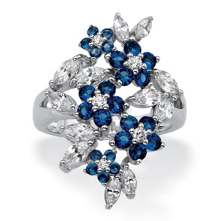 Simulated Blue Sapphire and Cubic Zirconia Floral Cluster Ring 2.41 TCW in Silvertone at PalmBeach Jewelry