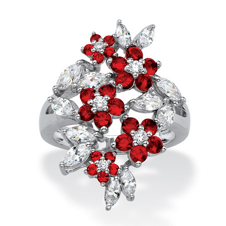 Simulated Red Ruby and Cubic Zirconia Floral Cluster Ring 3.65 TCW in Silvertone at PalmBeach Jewelry