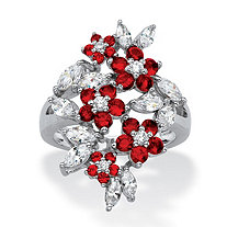 Simulated Red Ruby and Cubic Zirconia Floral Cluster Ring 3.65 TCW in Silvertone
