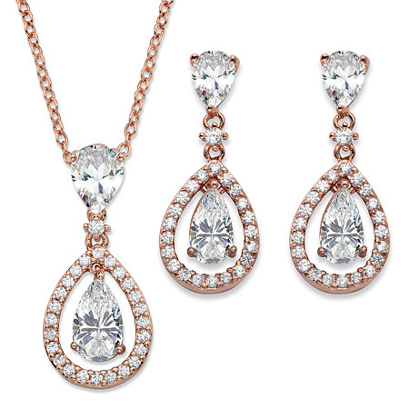 Pear-Cut Cubic Zirconia 2-Piece Floating Halo Drop Earrings and Pendant Necklace Set 8.92 TCW in Rose Gold Tone 18