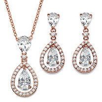"Pear-Cut Cubic Zirconia 2-Piece Floating Halo Drop Earrings and Pendant Necklace Set 8.92 TCW in Rose Gold Tone 18""-20"""