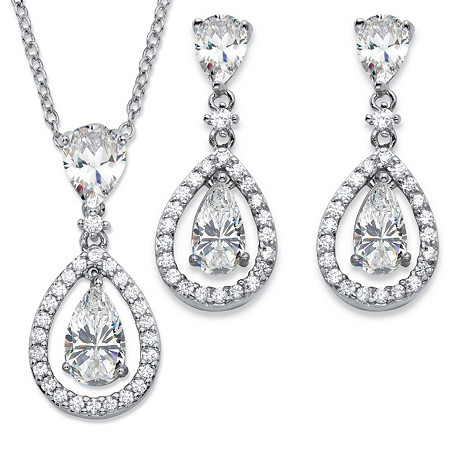 Pear-Cut Cubic Zirconia 2-Piece Floating Halo Drop Earrings and Pendant Necklace Set 8.92 TCW in Platinum-Plated 18