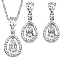 Pear-Cut CZ 2-Piece Floating Halo Drop Earrings And Pendant Necklace Set 8.92 TCW In Platinum-Plated ONLY $29.99
