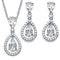 "Pear-Cut Cubic Zirconia 2-Piece Floating Halo Drop Earrings and Pendant Necklace Set 8.92 TCW in Platinum-Plated 18""-20"""