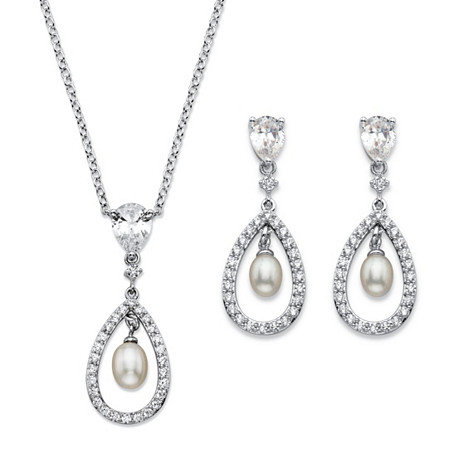 Genuine Freshwater Pearl and Cubic Zirconia 2-Piece Drop Earrings and Pendant Necklace Set 4.58 TCW Platinum-Plated 18