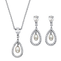Genuine Freshwater Pearl And Cubic Zirconia 2-Piece Drop Earrings And Pendant Necklace Set