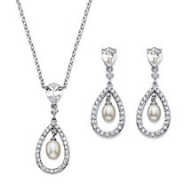 "Genuine Freshwater Pearl and Cubic Zirconia 2-Piece Drop Earrings and Pendant Necklace Set 4.58 TCW Platinum-Plated 18""-20"""