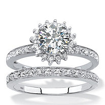 Created White Sapphire and Genuine Diamond and 2-Piece Halo Wedding Ring Set 1.93 TCW in Platinum over Sterling Silver
