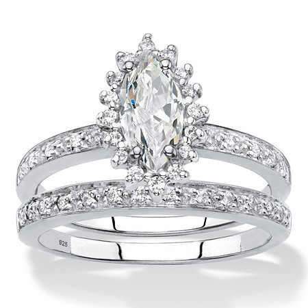 Marquise-Cut Created White Sapphire and Genuine Diamond 2-Piece Halo Wedding Ring Set 1.67 TCW in Platinum over Sterling Silver at PalmBeach Jewelry
