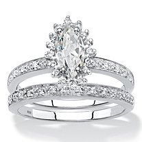 Marquise-Cut Created White Sapphire and Genuine Diamond 2-Piece Halo Wedding Ring Set 1.67 TCW in Platinum over Sterling Silver