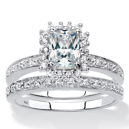 Emerald-Cut Created White Sapphire and Genuine Diamond 2-Piece Halo Wedding Ring Set 1.67 TCW in Platinum over Sterling Silver at PalmBeach Jewelry