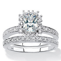 Emerald-Cut Created White Sapphire and Genuine Diamond 2-Piece Halo Wedding Ring Set 1.67 TCW in Platinum over Sterling Silver