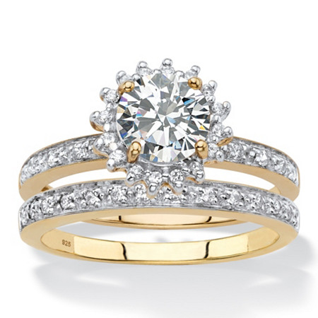 Round Created White Sapphire and Genuine Diamond and 2-Piece Halo Wedding Ring Set 1.93 TCW in 18k Gold over Sterling Silver at PalmBeach Jewelry