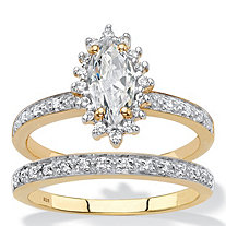 SETA JEWELRY Marquise-Cut Created White Sapphire and Diamond 2-Piece Halo Wedding Ring Set 1.67 TCW in 18k Gold over Sterling Silver