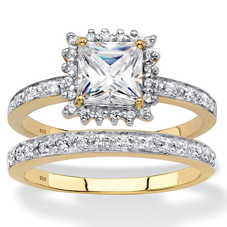 Princess-Cut Created White Sapphire and Diamond 2-Piece Halo Wedding Ring Set 1.53 TCW in 18k Gold over Sterling Silver at PalmBeach Jewelry