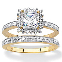 Princess-Cut Created White Sapphire and Diamond 2-Piece Halo Wedding Ring Set 1.53 TCW in 18k Gold over Sterling Silver