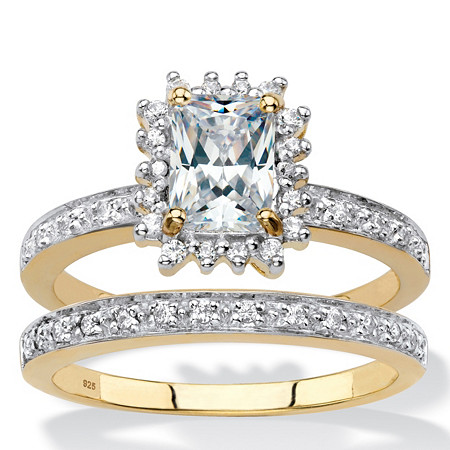 Emerald-Cut Created White Sapphire and Diamond 2-Piece Halo Wedding Ring Set 1.67 TCW in 18k Gold over Sterling Silver at PalmBeach Jewelry