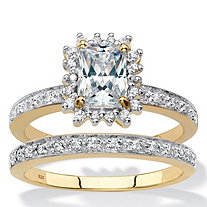 SETA JEWELRY Emerald-Cut Created White Sapphire and Diamond 2-Piece Halo Wedding Ring Set 1.67 TCW in 18k Gold over Sterling Silver