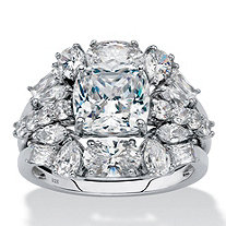 SETA JEWELRY Cushion-Cut Cubic Zirconia 2-Piece Jacket Wedding Ring Set 4.76 TCW in Platinum over Sterling Silver