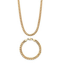 "Men's Curb-Link Chain 2-Piece 5.5 mm Necklace and 6.5 mm Bracelet Set 20"" 8"" Gold Ion-Plated"
