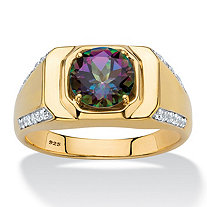 SETA JEWELRY Men's Round Genuine Mystic Fire Topaz and Cubic Zirconia Ring 2.70 TCW in 18k Gold over Sterling Silver