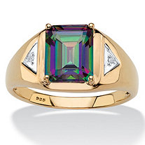 Men's Emerald-Cut Genuine Mystic Fire Topaz Ring 3.20 TCW in 18k Gold over Sterling Silver