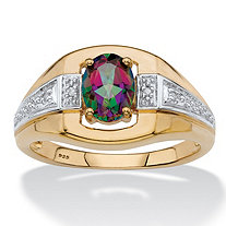 Men's Oval-Cut Genuine Mystic Fire Topaz Ring in 18k Gold over Sterling Silver (1.60 cttw)