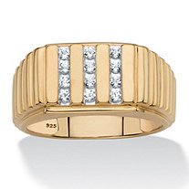 Men's Created White Sapphire Channel-Set Ribbed Ring .36 TCW in 18k Gold over Sterling Silver