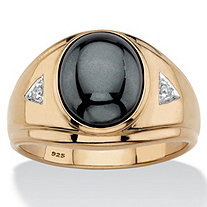 SETA JEWELRY Men's Genuine Grey Hematite Oval Cabochon Ring in 18k Gold over Sterling Silver