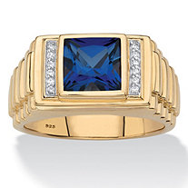 SETA JEWELRY Men's Square-Cut Created Blue Sapphire and Diamond Accent Ring 2.85 TCW in 18k Gold over Sterling Silver