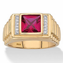 Men's Square-Cut Created Red Ruby and Diamond Accent Ring 1.36 TCW in 18k Gold over Sterling Silver