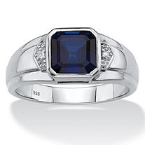 Men's Created Blue Sapphire and Diamond Accent Ring 2.50 TCW in Platinum over Sterling Silver