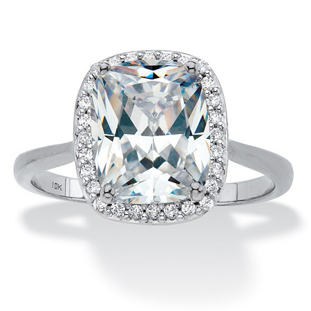 Cushion-Cut Cubic Zirconia Halo Engagement Ring 3.34 TCW in Solid 10k White Gold at PalmBeach Jewelry