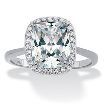 SETA JEWELRY Cushion-Cut Cubic Zirconia Halo Engagement Ring 3.34 TCW in Solid 10k White Gold