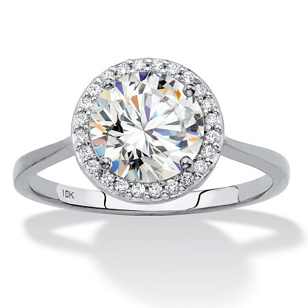 Round Cubic Zirconia Halo Engagement Ring 2.12 TCW in Solid 10k White Gold at PalmBeach Jewelry