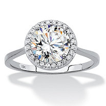 SETA JEWELRY Round Cubic Zirconia Halo Engagement Ring 2.12 TCW in Solid 10k White Gold