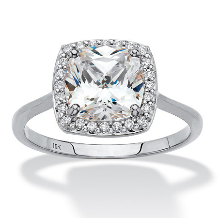 Cushion-Cut Cubic Zirconia Halo Engagement Ring 1.82 TCW in Solid 10 White Gold at PalmBeach Jewelry