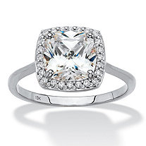 SETA JEWELRY Cushion-Cut Cubic Zirconia Halo Engagement Ring 1.82 TCW in Solid 10 White Gold