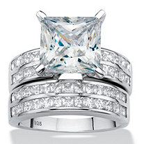 Princess-Cut Cubic Zirconia 2-Piece Channel-Set Wedding Ring Set 5.15 TCW in Platinum over Sterling Silver